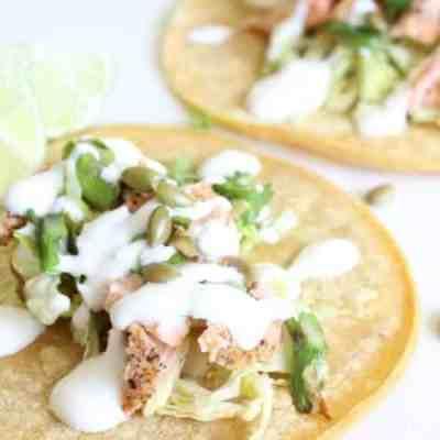 Seared Salmon Tacos with Asparagus Scallion Salsa