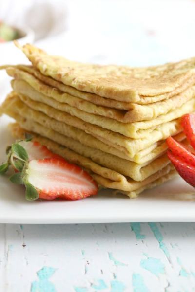 4 Ingredient Paleo Crêpes - Easily made with 4 common ingredients found in most kitchens. They're enjoyed sweet or savory with your favorite fixings. Grain free, Dairy Free, Gluten Free