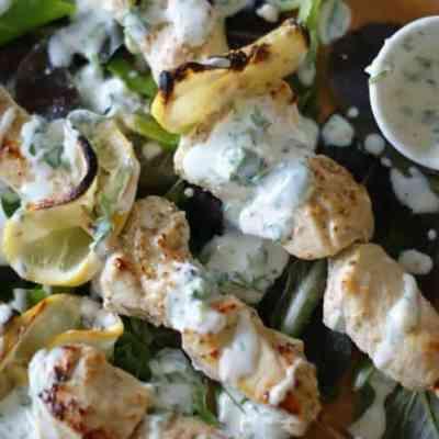 Coriander Chicken Kebabs with Cilantro Kefir Sauce