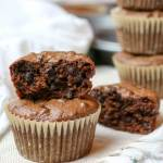 Flourless Double Chocolate Muffins -Flourless Double Chocolate Muffins - Rich in chocolate and naturally sweetened, these paleo treats are easily made in the blender with only 6 main ingredients. They pack easily and freeze perfectly - make them today! #paleo #flourless #muffins #gapsdiet