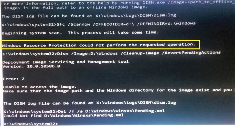 Windows Resource Protection could not Perform Windows 10