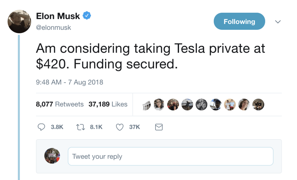 musk tesla private