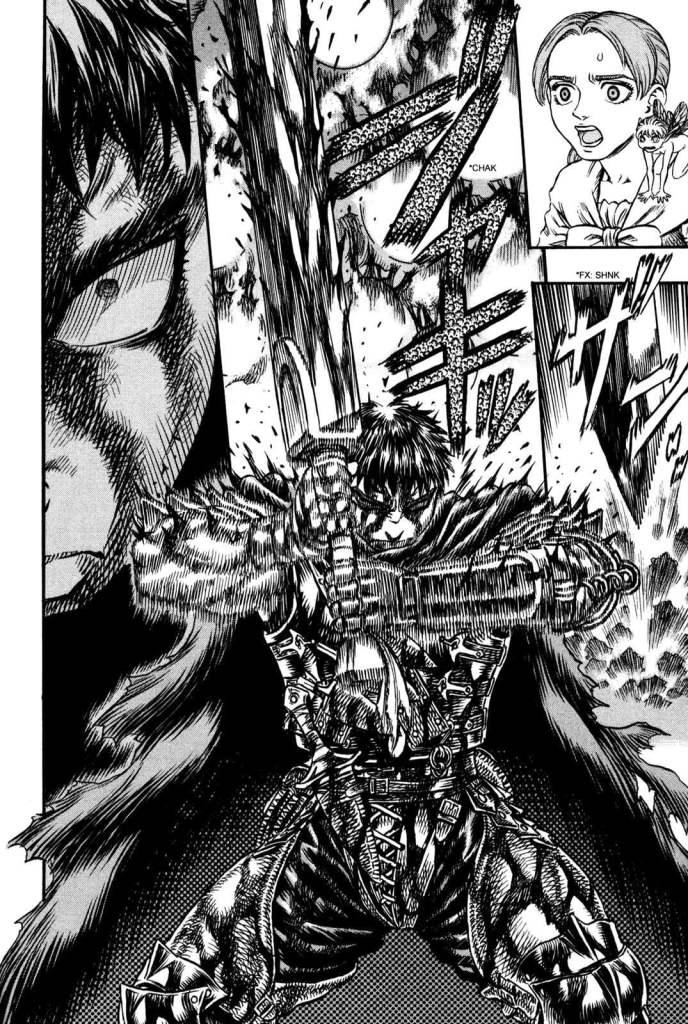 Guts muni de son épée , concentré et prêt à attaquer - Berserk chez Glénat