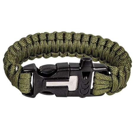 bracelet-paracord-flint-steel-green-military-highlander