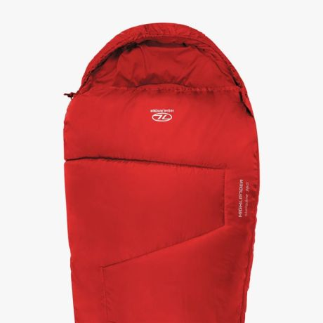 HIGHLANDER-SLEEPLINE-350-MUMMY-SLEEPING-BAG-RED
