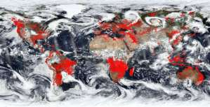 NASA images from space show a world on fire