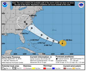 Hurricane Florence Now Category 4, Likely to Strike East Coast With Life-Threatening Storm Surge, Destructive Winds, Major Rainfall Flooding