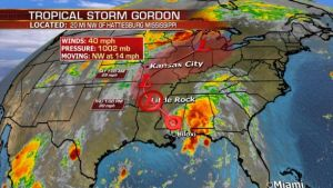 Gordon makes landfall bringing heavy rain and flooding potential from the Gulf Coast to the Great Lakes