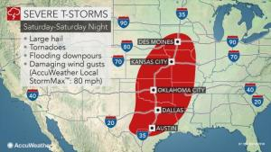 Long-duration severe weather outbreak to threaten 18 states with dangerous storms, potential tornadoes