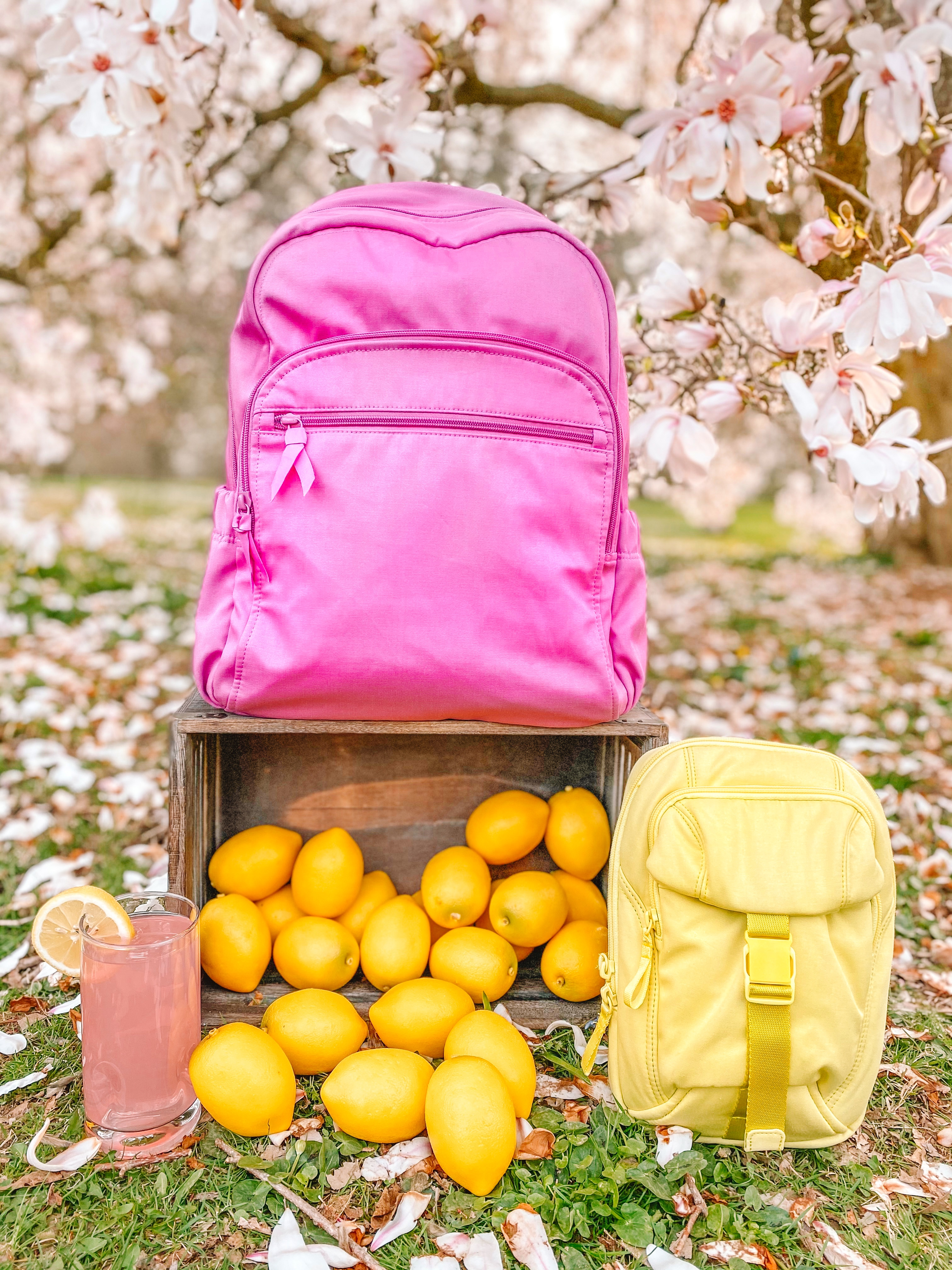 recycled cotton vera bradley bags in the springtime with pink lemonade