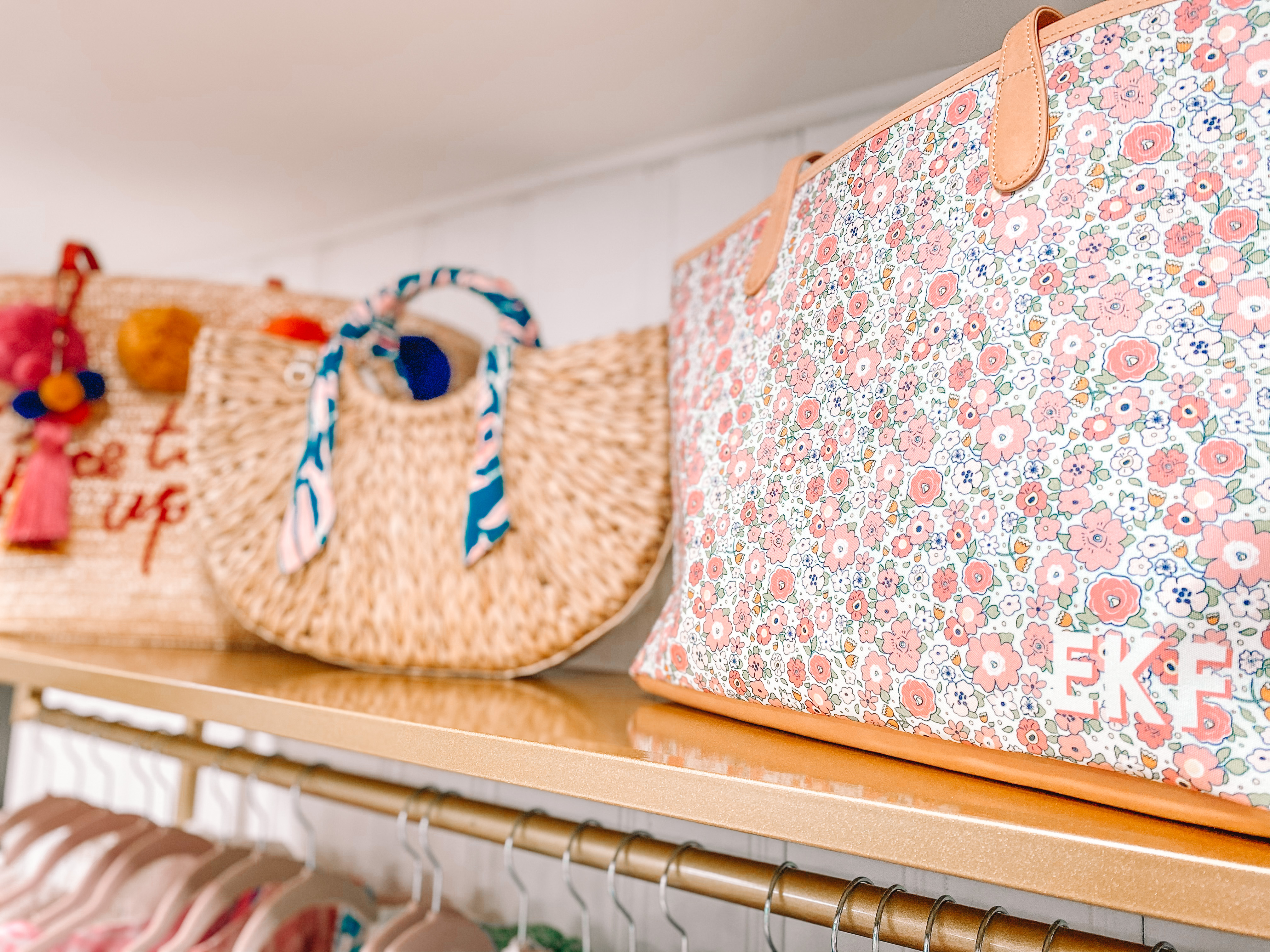 bags on a clothing rack in the home office