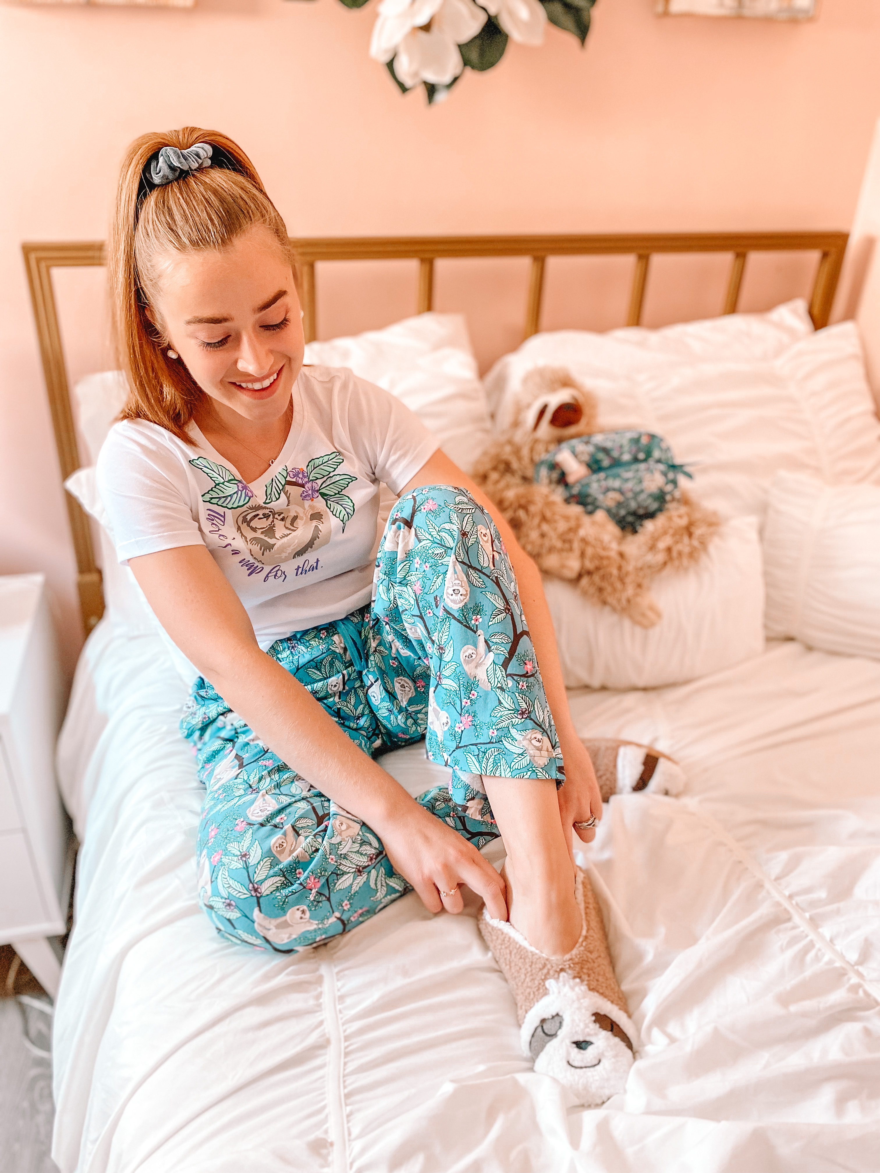 sloth slippers, hanging around pattern and girl in pajamas