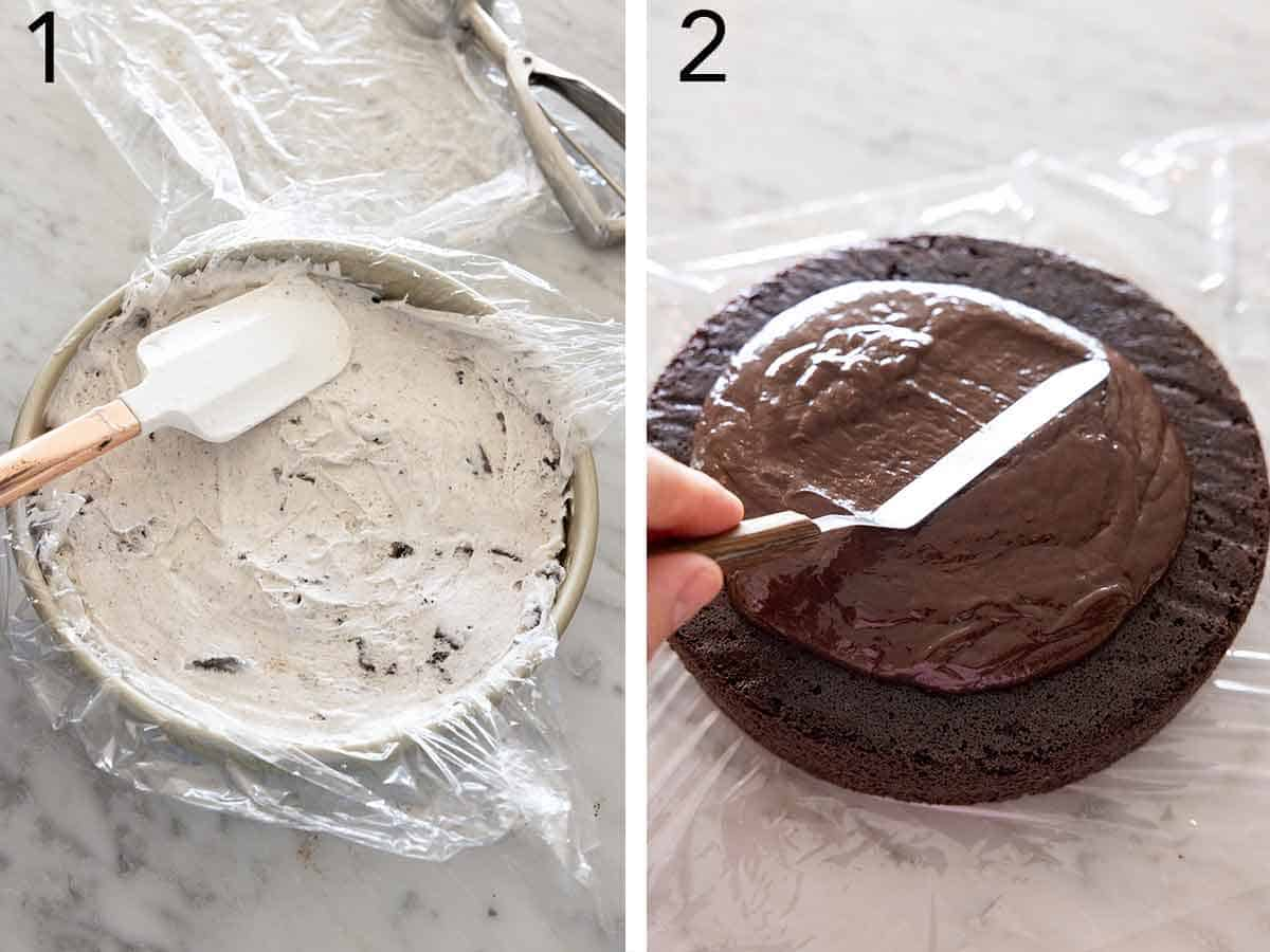 Set of two photos showing ice cream pressed into a lined cake pan and fudge sauce spread onto a chocolate cake.
