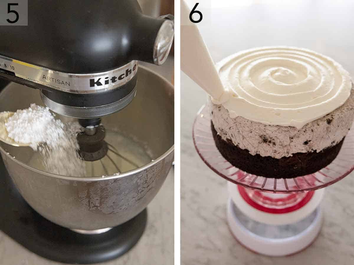 Set of two photos showing whipped cream being whipped in a mixer and then pipped onto the ice cream cake.