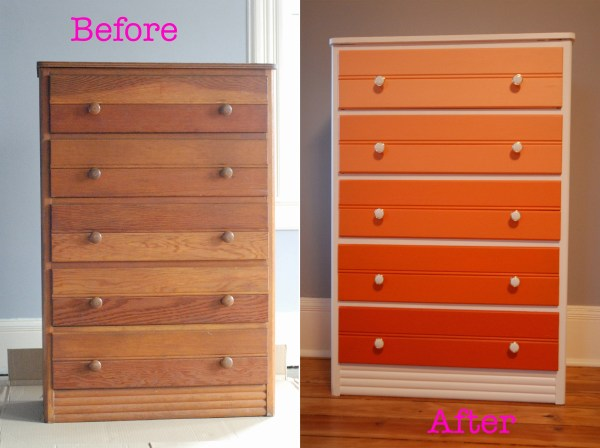 before and after DIY dresser