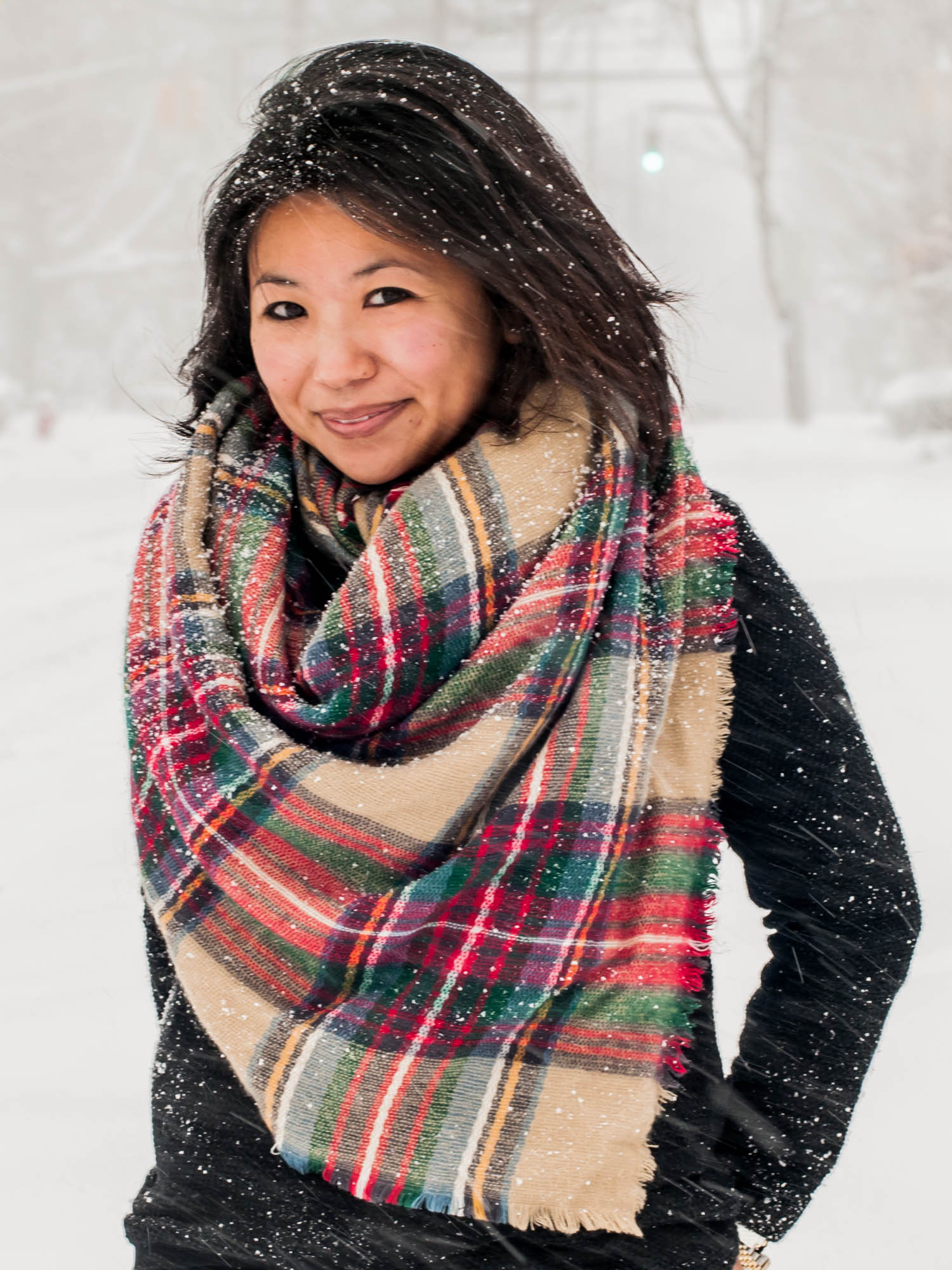 winter blanket scarf plaid