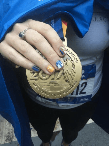 nyc marathon medal and nails sarah marie designs