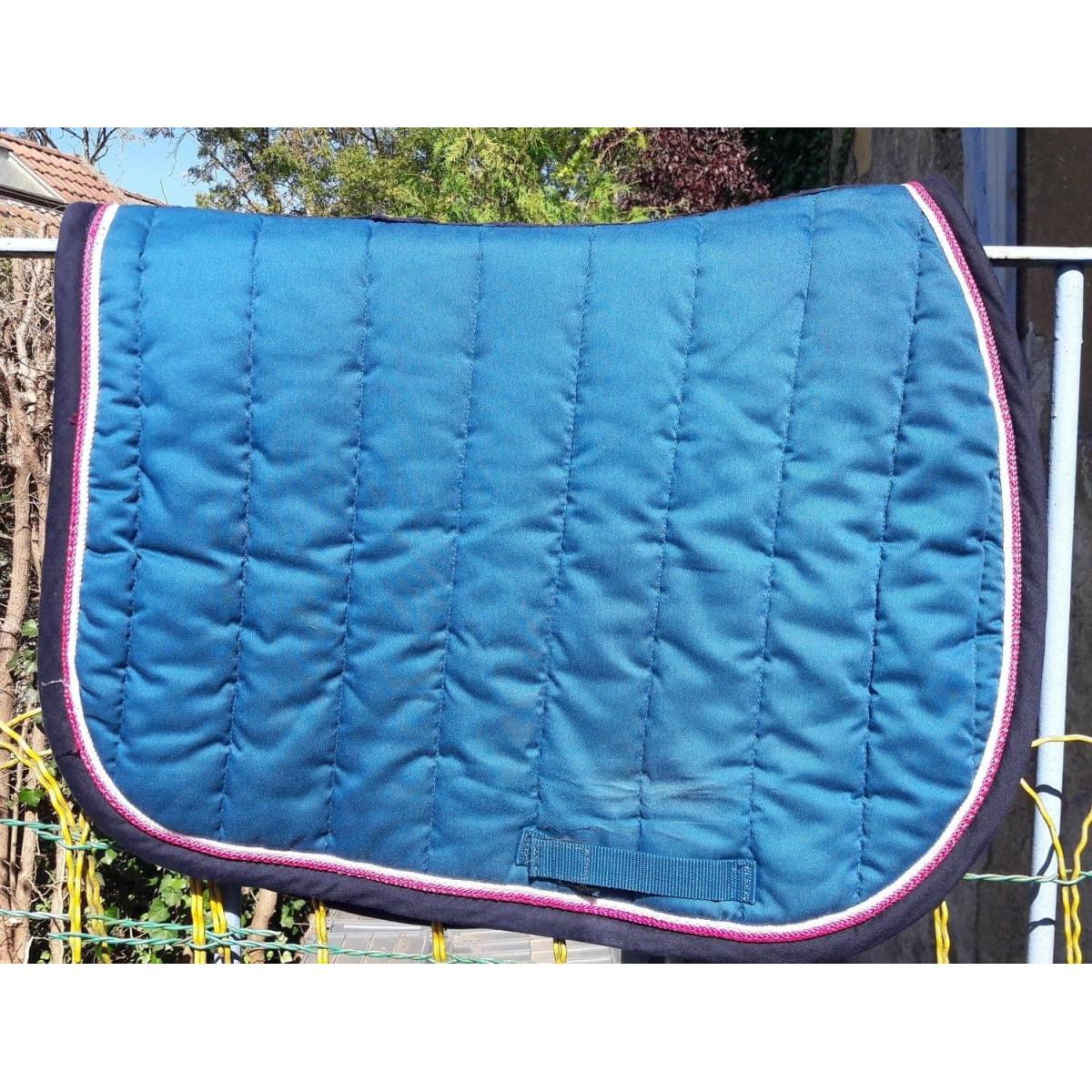 tapis de selle bleu petrole marine taille poney cheval fouganza