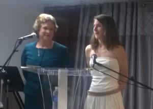 Rev. Sue Hudson and daughter Rachel translating