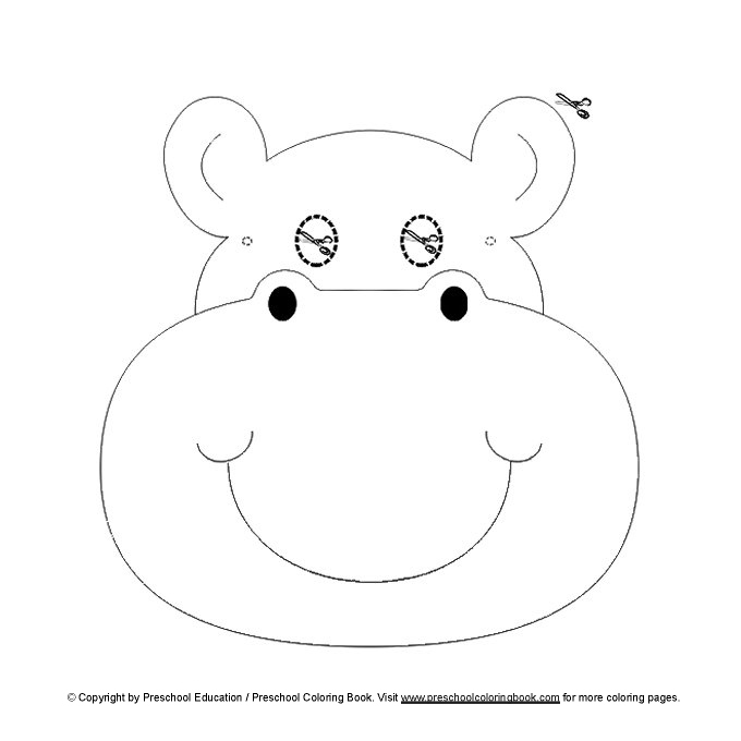 hippo mask colouring pages