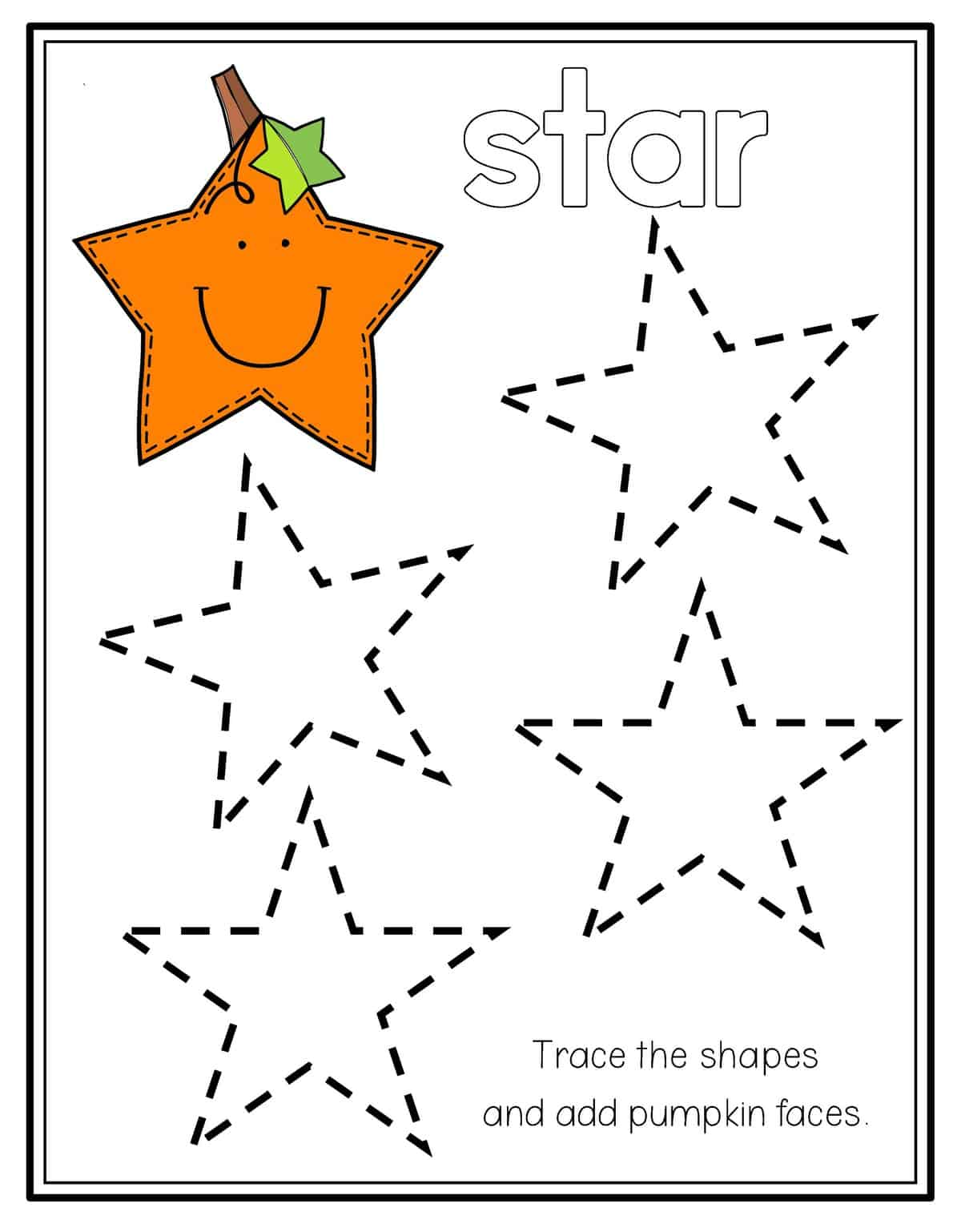 Free Shape Star Worksheets