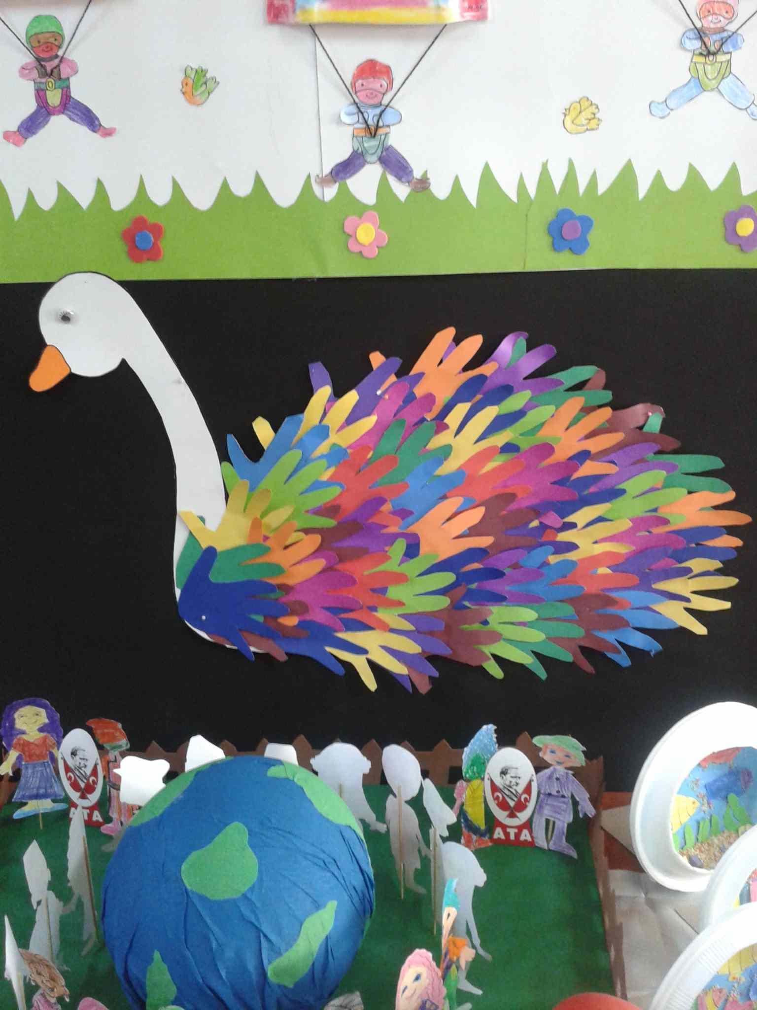 Handprint Swan Bulletin Board Idea Preschoolplanet
