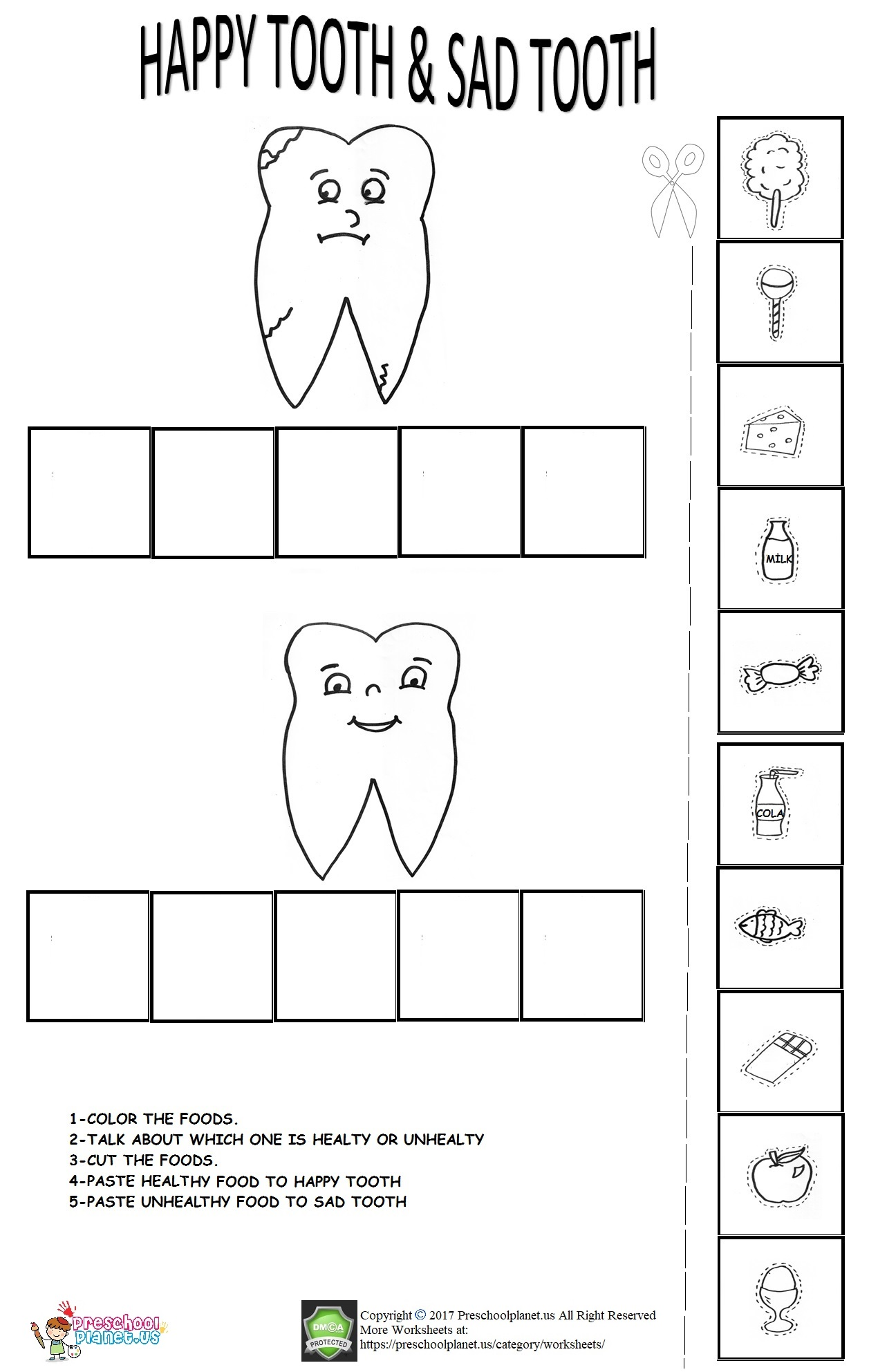 Dental Health Worksheet For Kids Preschoolplanet