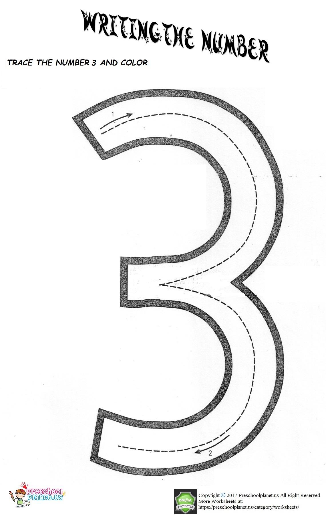 Number 3 Worksheet Preschoolplanet