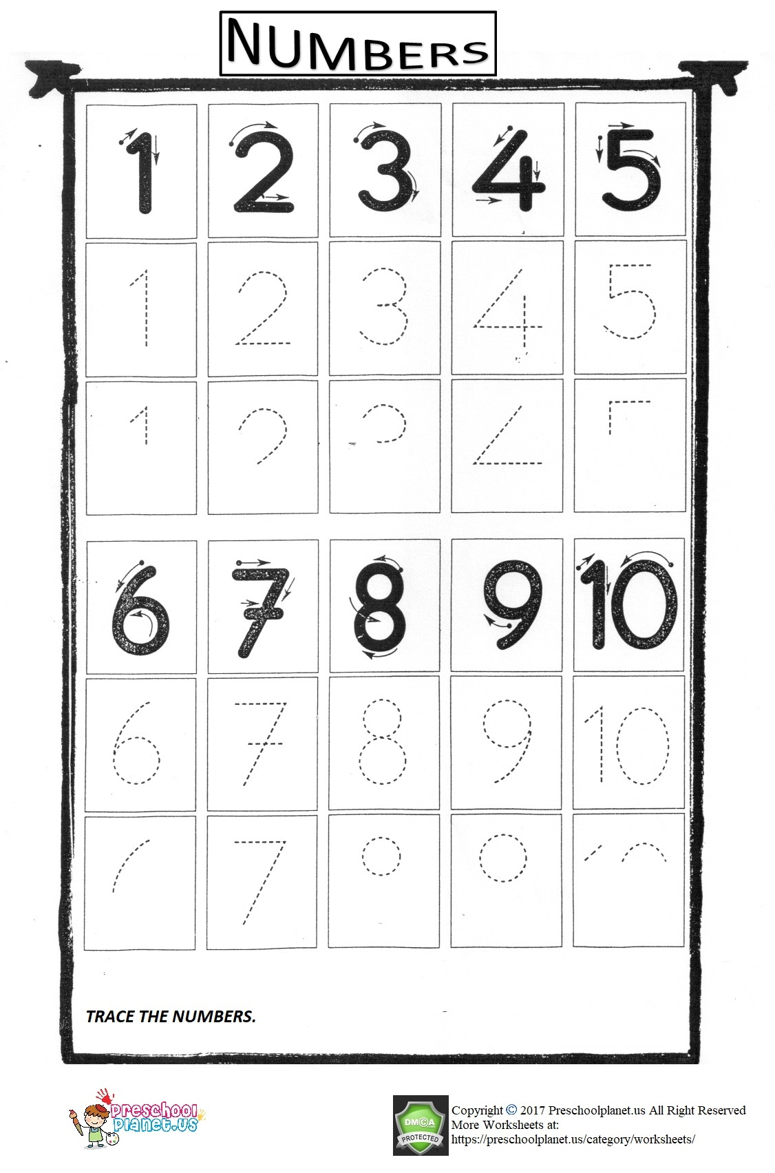 Number Trace Worksheet For Kids 1 10 Preschoolplanet
