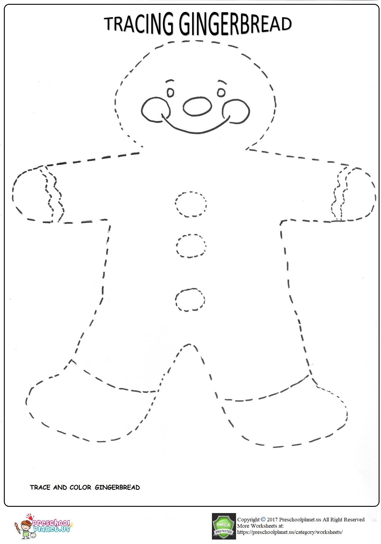 Trace Gingerbread Worksheet For Kids Preschoolplanet