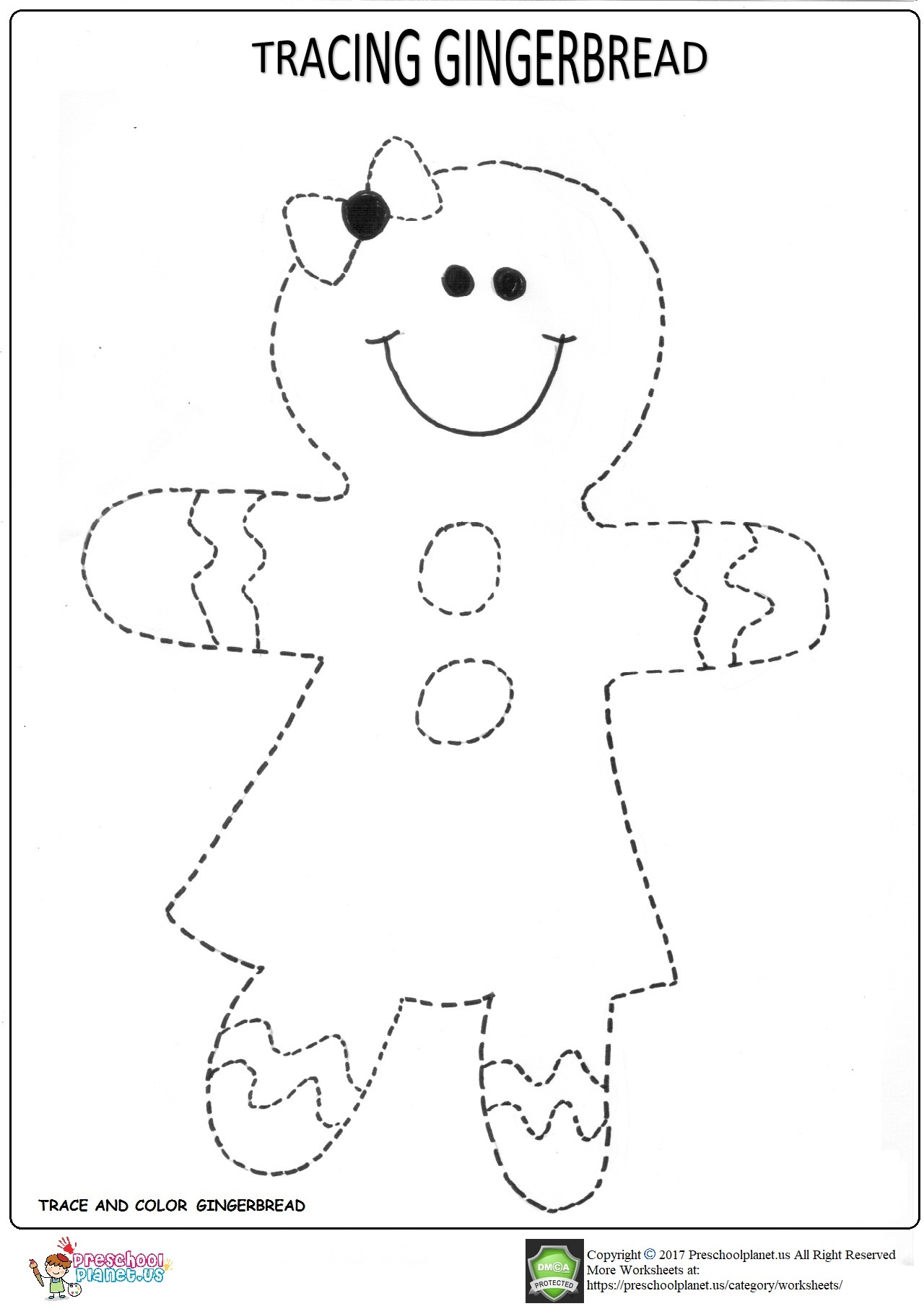 Trace Gingerbread Worksheet For Kindergarten Preschoolplanet