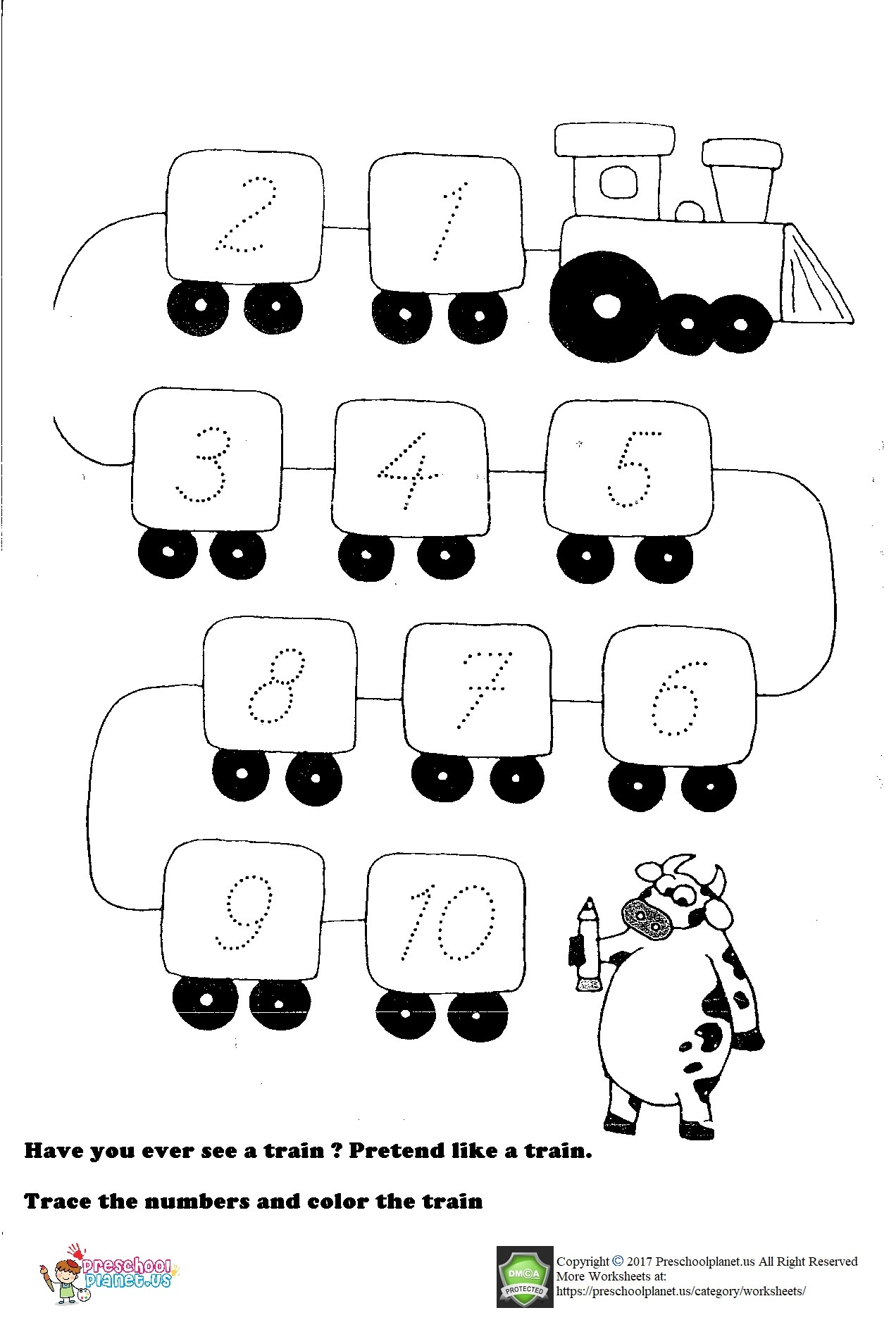 Number Trace Worksheet For Preschool