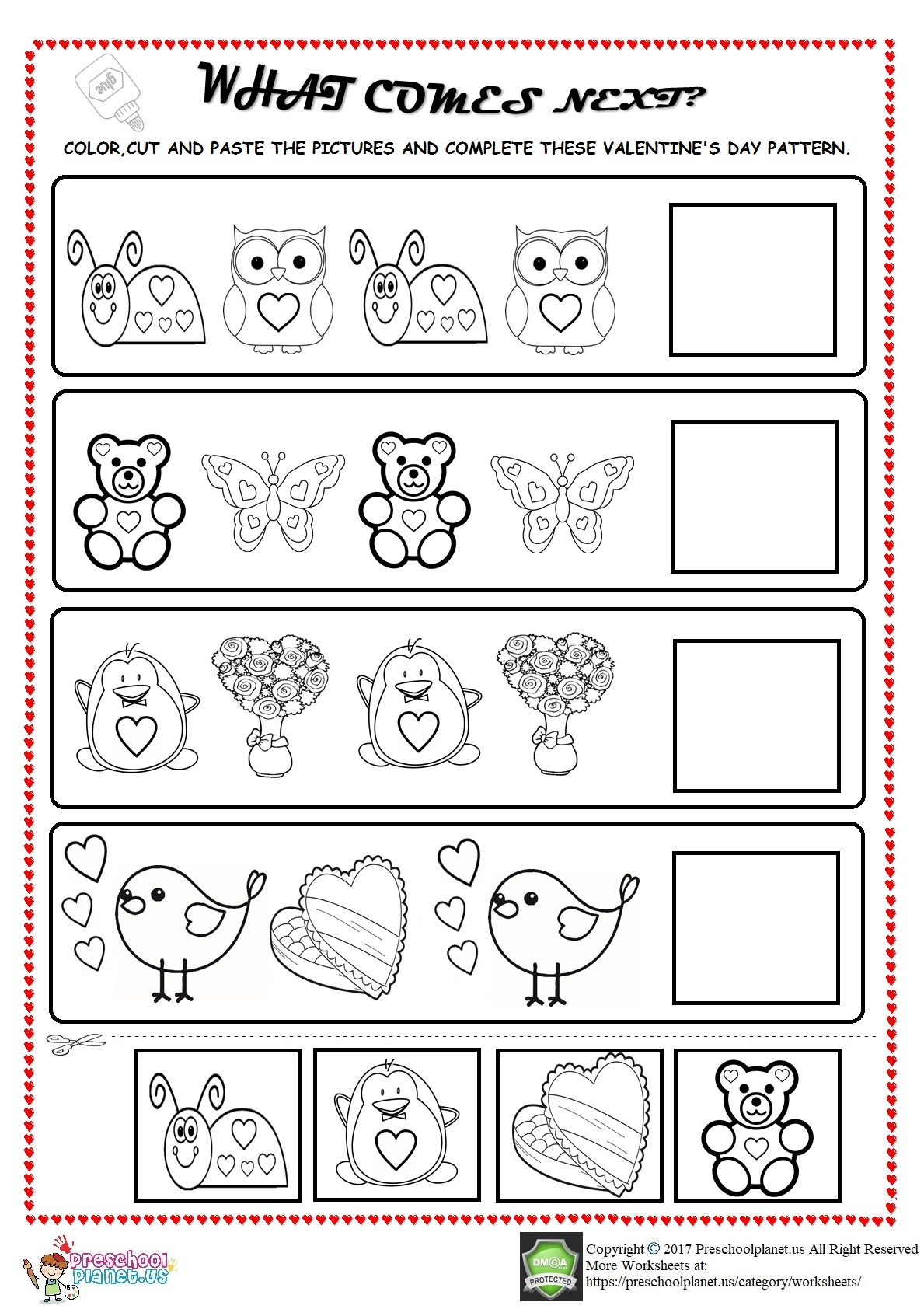 Valentine S Day Pattern Worksheet For Kids