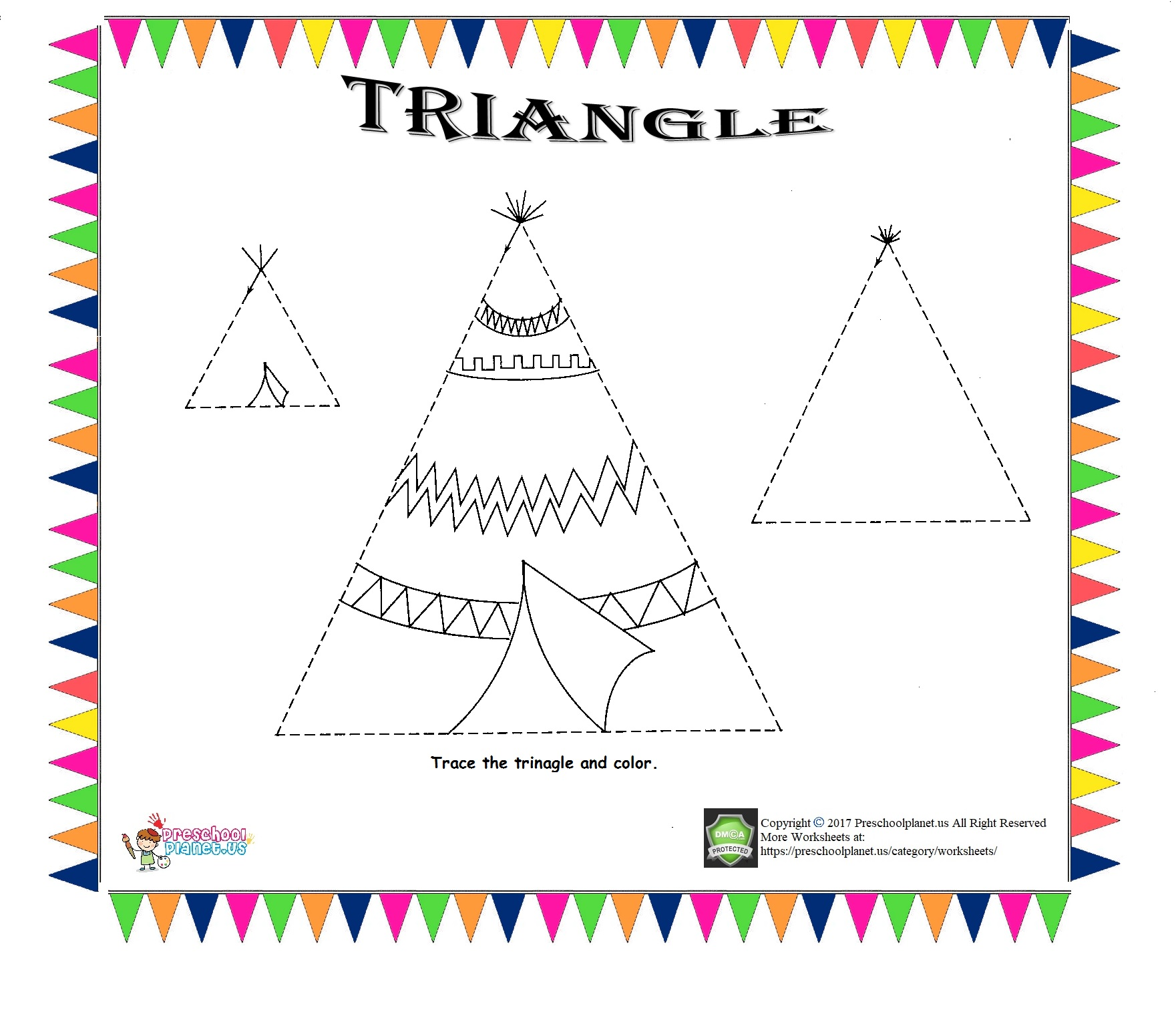 Triangle Worksheet For Preschoolers