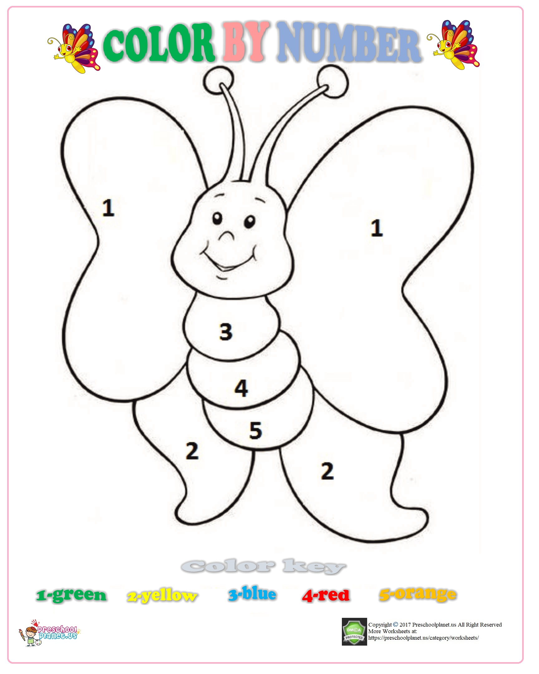 Color By Number Butterfly Worksheet