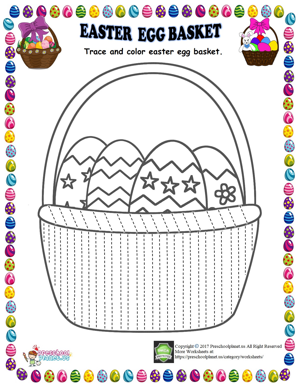 Easter Egg Basket Trace Line Worksheet