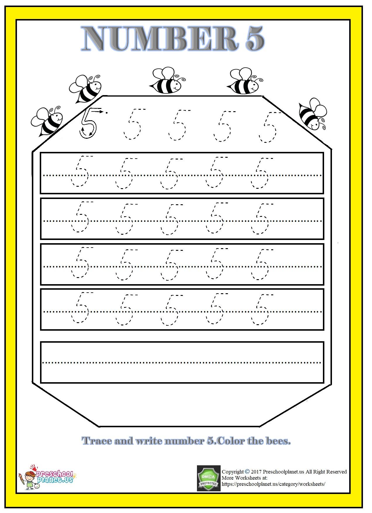 Number 5 Worksheet For Kindergarten