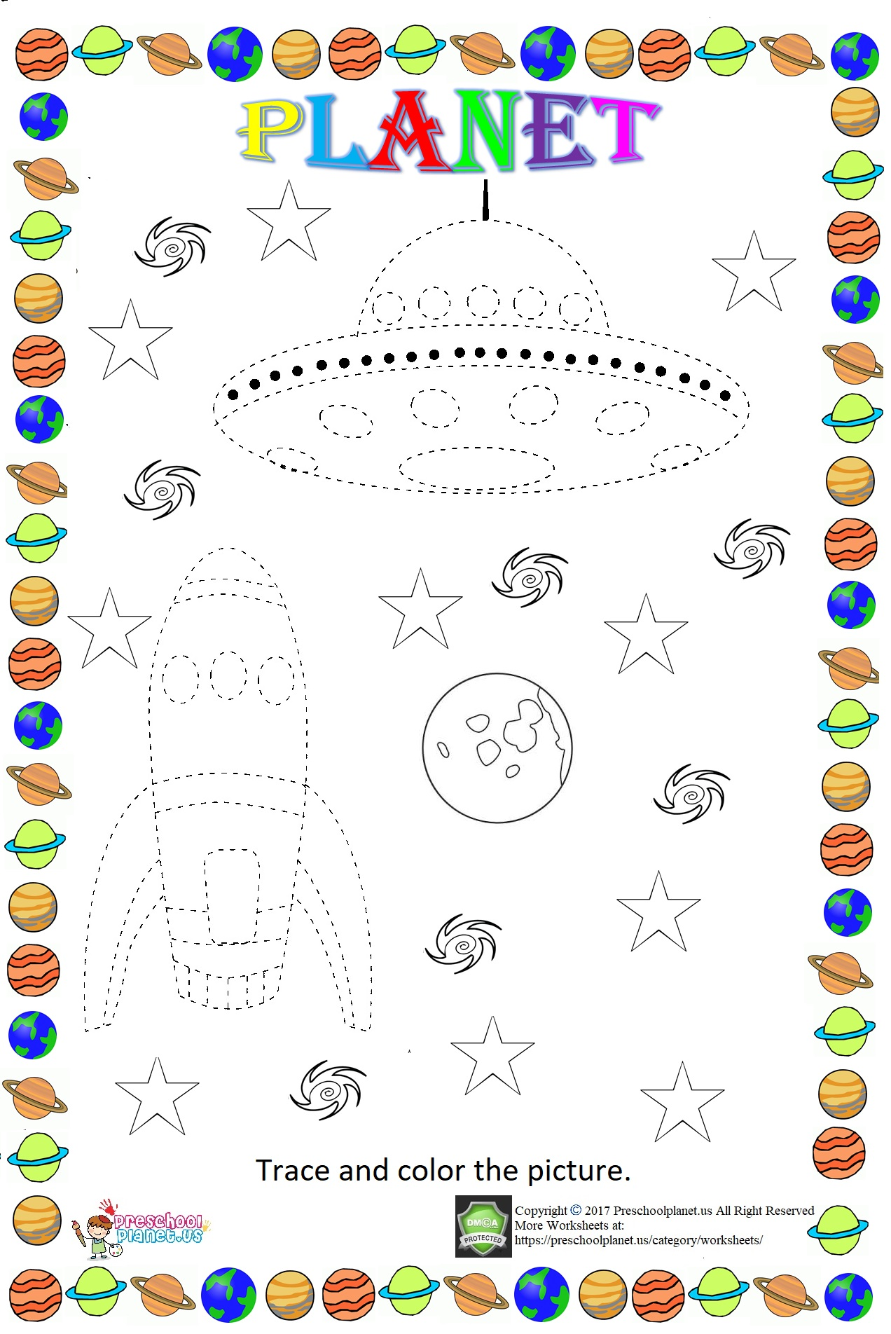 Clock Trace Line Worksheet Preschoolplanet