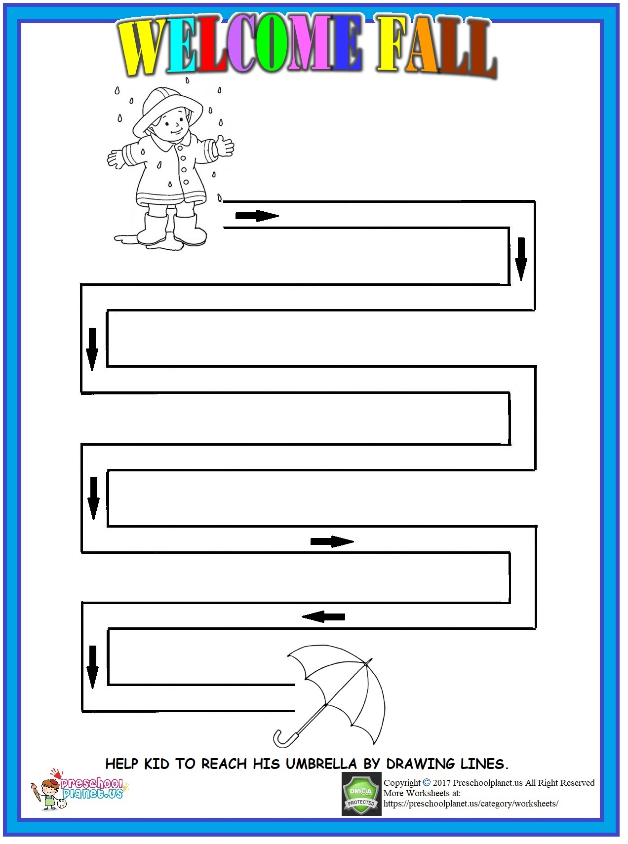 Fall Maze Worksheet For Kids Preschoolplanet