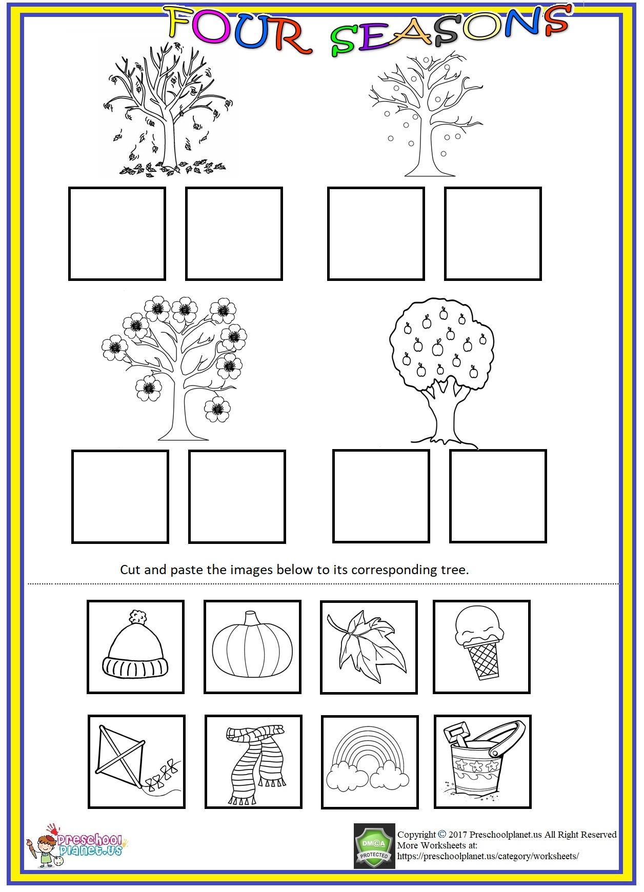 Four Seasons Cut And Paste Activities Preschoolplanet