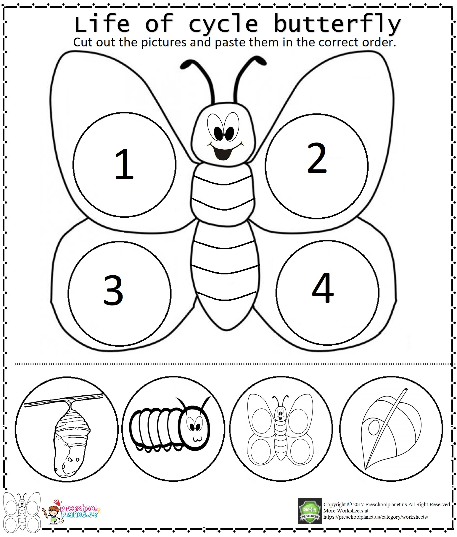 Life Of Cycle Butterfly Worksheet Preschoolplanet