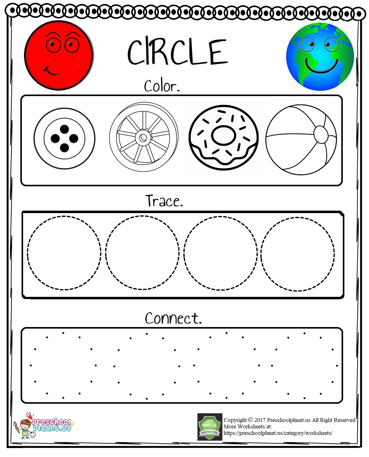 Circle Worksheet For Preschool Preschoolplanet
