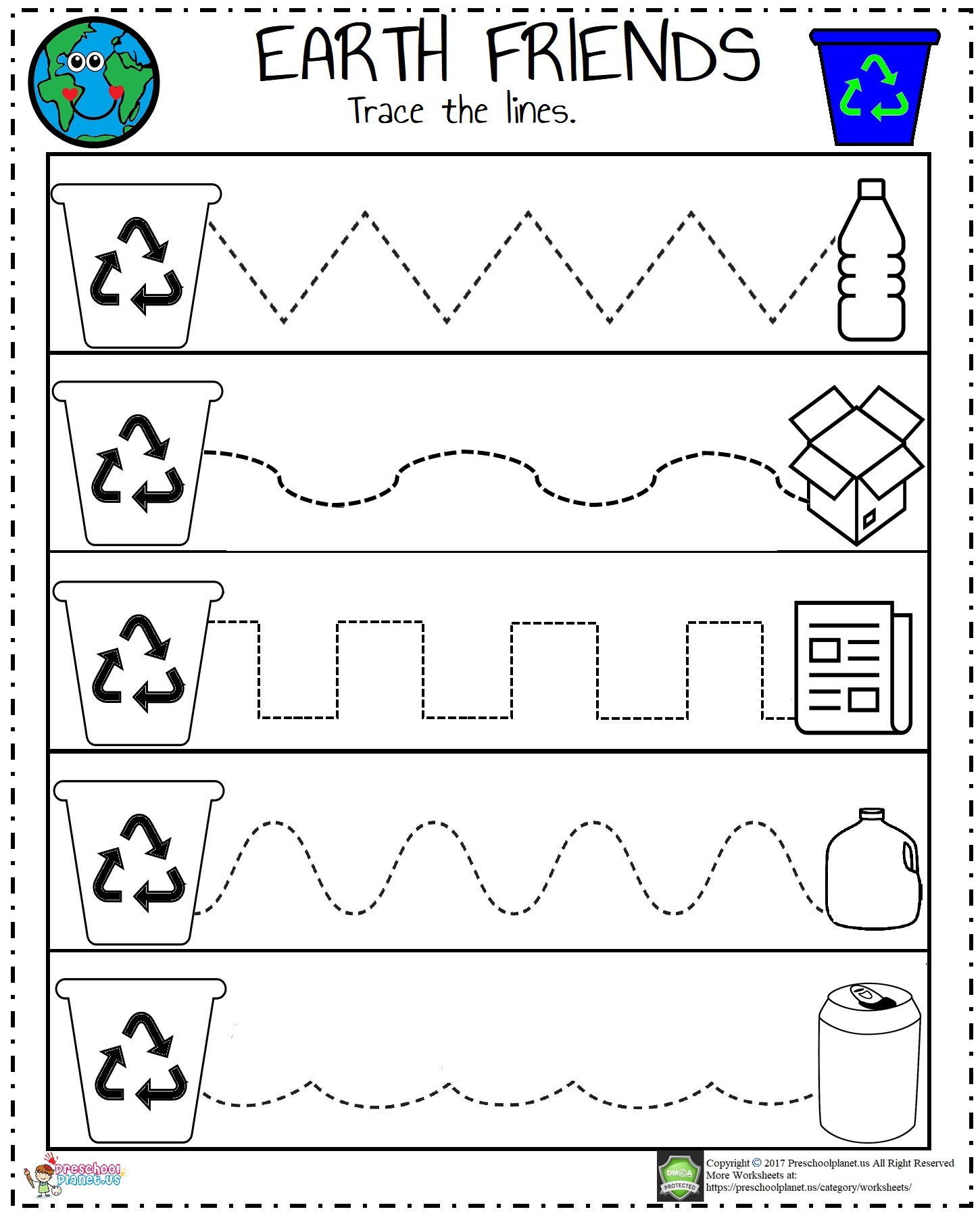 Recycle Worksheet For Preschool Preschoolplanet