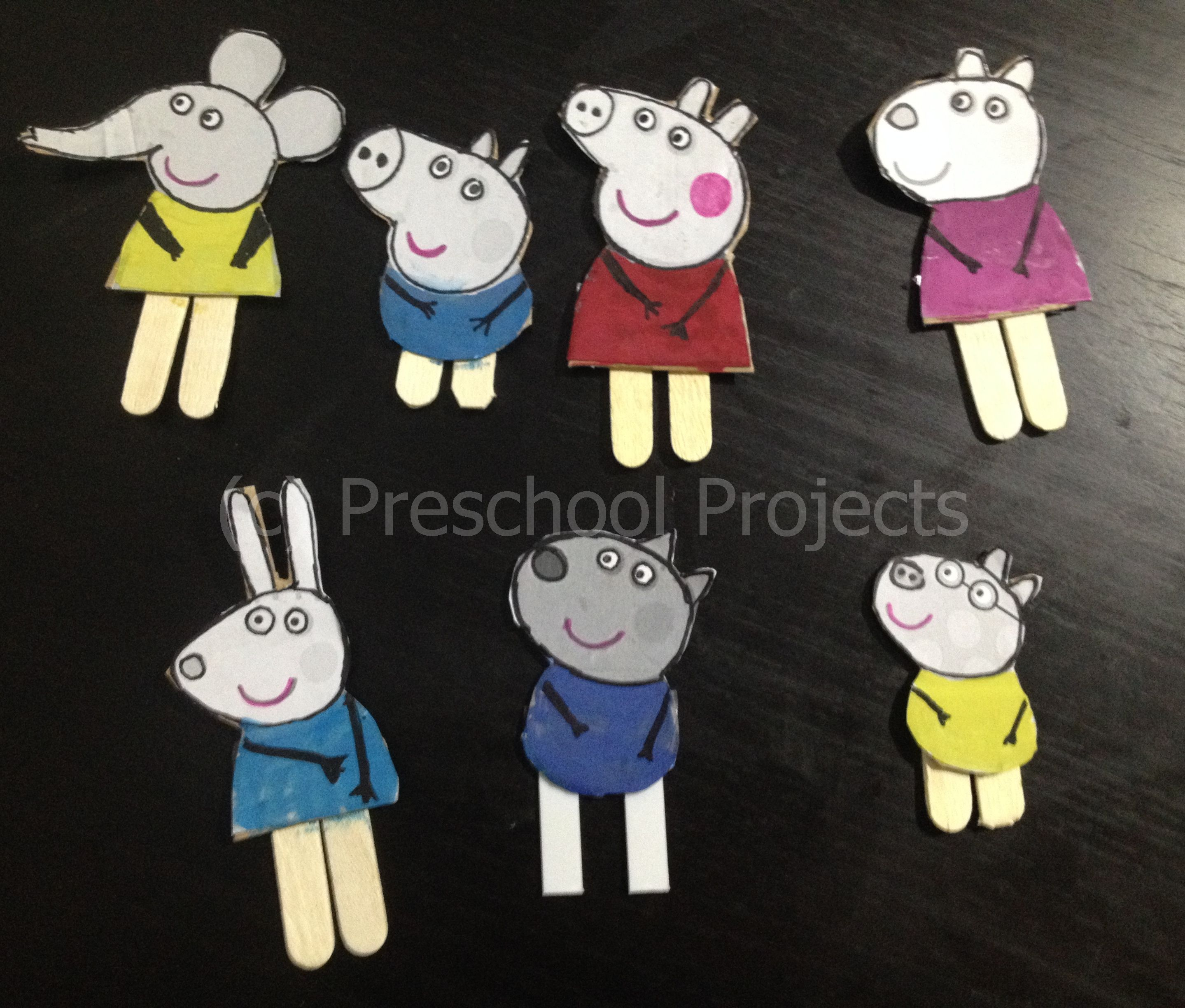 Peppa Pig Craft Puppets From Printables Preschool Projects