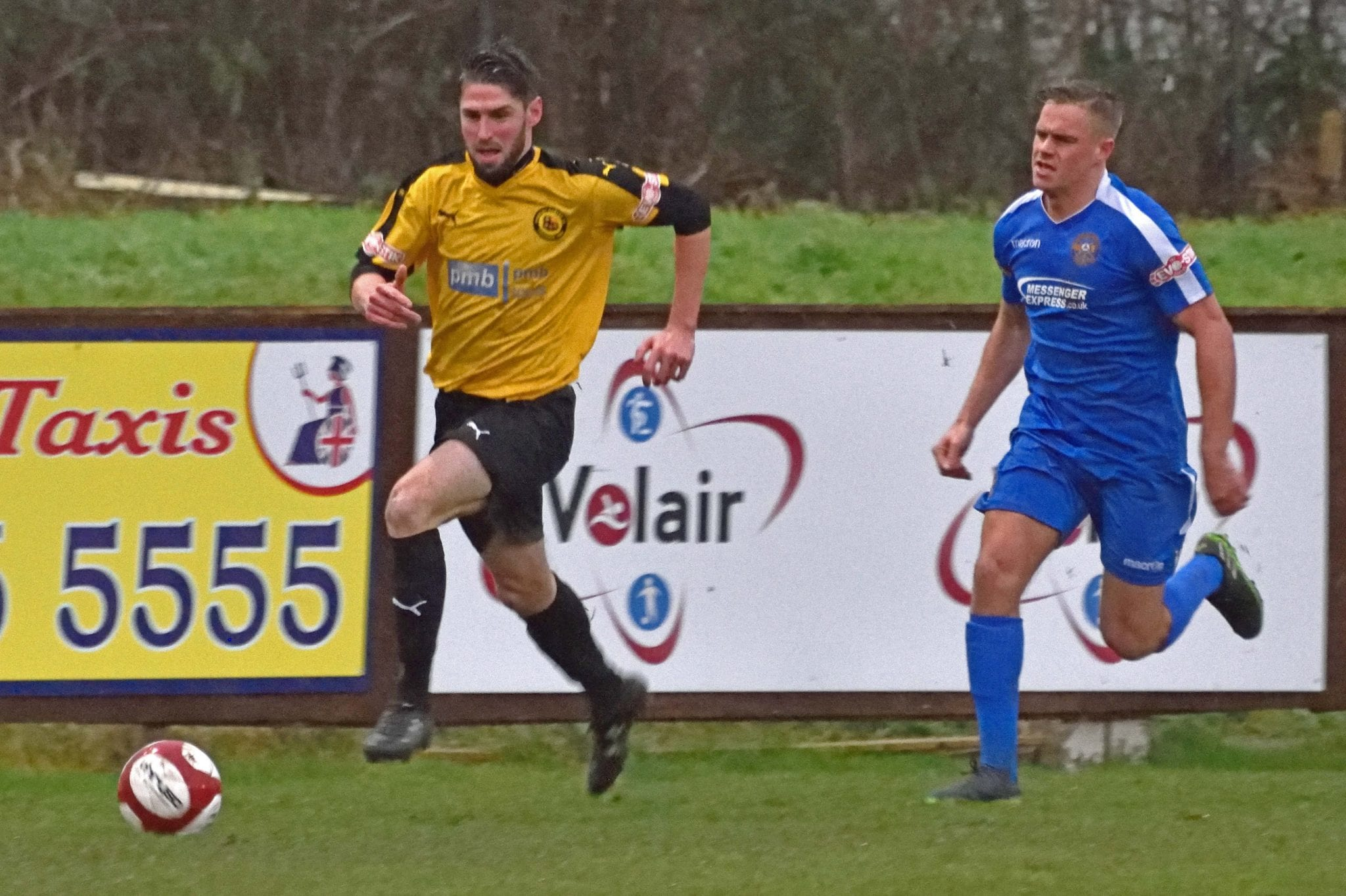 Chris Almond in possession for Prescot Cables against Skelmersdale United