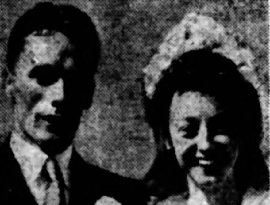 Alex Muir with his wife Shirley on their wedding day