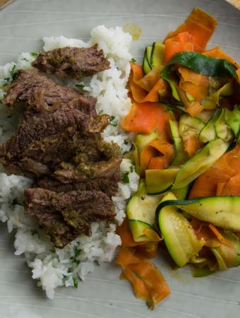Korean short ribs rice and vegetables
