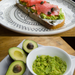 Salmon cream cheese avocado toast with capers