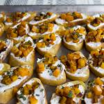 Goat cheese butternut squash crostini