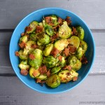 Brussel sprouts with bacon in bowl